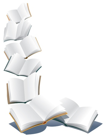 Flying open books over abstract white background