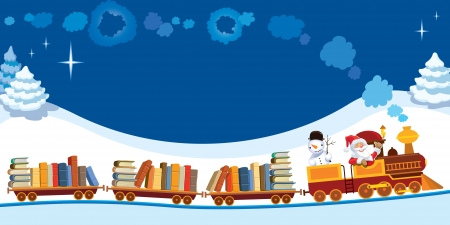 Santa Claus and snowman in a toy train with books.