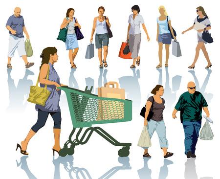 Set van mensen silhouetten. Gelukkige winkelende mensen houden zakken met producten.