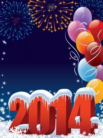 Nieuwjaar 2014 decoratie met kopie ruimte voor uw bericht