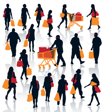 Set of people silhouettes. Happy shopping people holding bags with products. Banco de Imagens - 23289463
