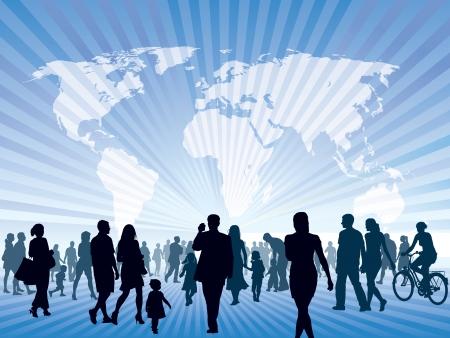 사람들의 군중 산책. 사람들은 새로운 더 나은 세상으로 갈 수 있습니다.