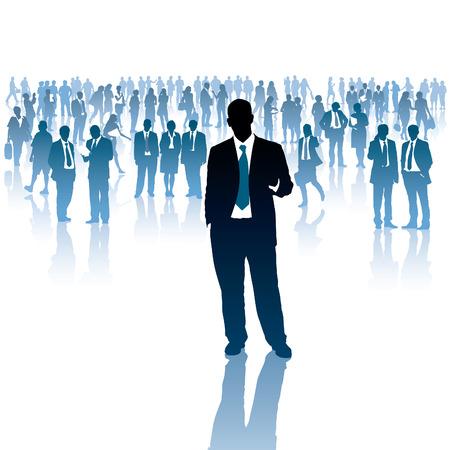 Ein Geschäftsmann und eine Menschenmenge im Hintergrund. Standard-Bild - 24058683