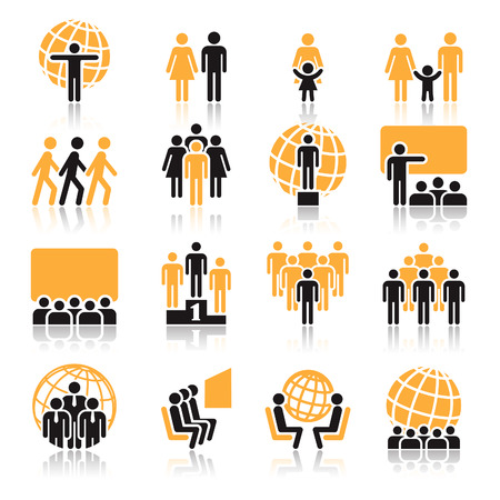 People, collection of orange and black icons over white background