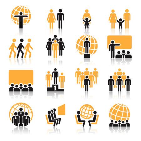 Mensen, het verzamelen van oranje en zwarte pictogrammen op witte achtergrond