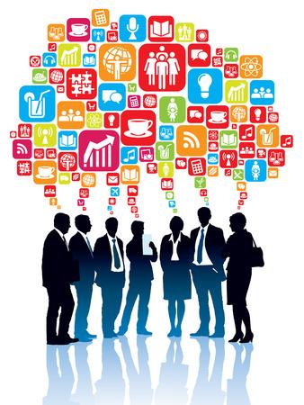 Groep van ondernemers staan en praten samen Stock Illustratie
