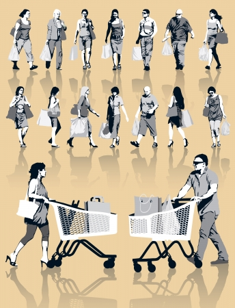 사람들이 실루엣의 집합입니다. 행복 쇼핑의 사람들은 제품과 함께 가방을 들고. 10 EPS.