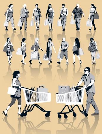 Aantal mensen silhouetten. Gelukkige winkelende mensen die zakken met producten. EPS-10. Stock Illustratie