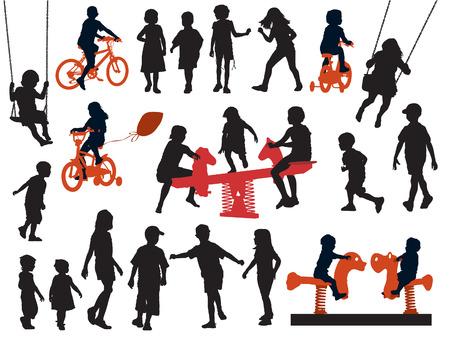 Een set van silhouetten, kinderen spelen in een speeltuin.