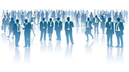 Menigte van ondernemers die zich op een witte achtergrond Stock Illustratie