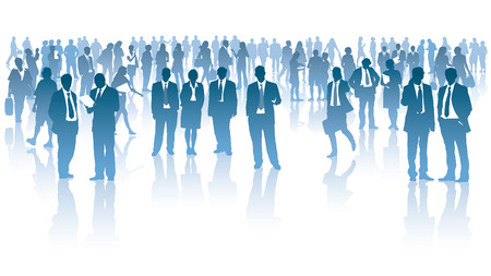 Crowd of businesspeople standing over white background Illustration