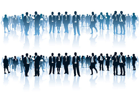 Crowd of businesspeople standing over white background Vettoriali