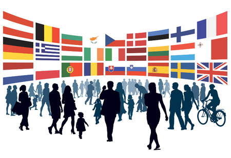 Crowd of people walking to national flags of european countries. Vector Illustration