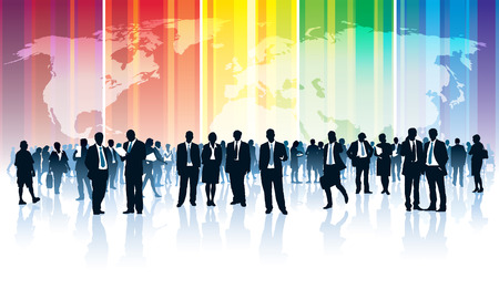Crowd of businesspeople standing over a world map with a rainbow