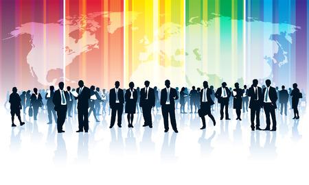Menigte van ondernemers die zich over een wereldkaart met een regenboog