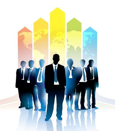 Een zakenman en groep mensen in de voorkant van een kaart van de wereld met een regenboog
