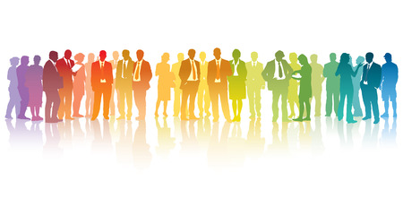 Colorful crowd of standing businesspeople over the white background Illusztráció