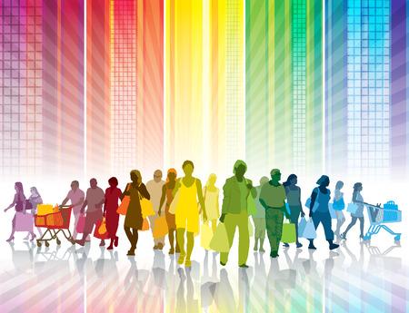 Multitud de personas de compras en una ciudad de colores Foto de archivo - 32558548
