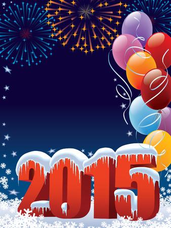 Nowy Rok 2015 dekoracji z kopi? Ilustracje wektorowe