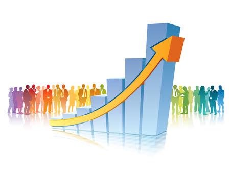 Menigte van mensen staat in de voorkant van grote groeiende grafiek