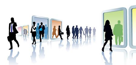 Menigte van mensen in virtuele reizen, van portaal naar portaal.