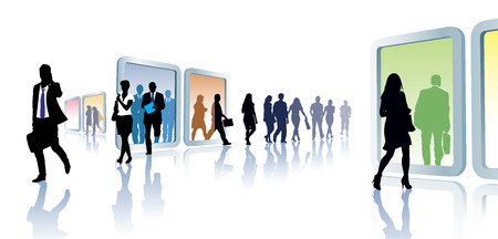 Crowd of people in virtual travel, from portal to portal.