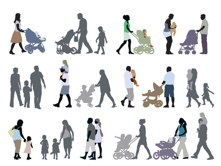 A set of parents and children silhouettes