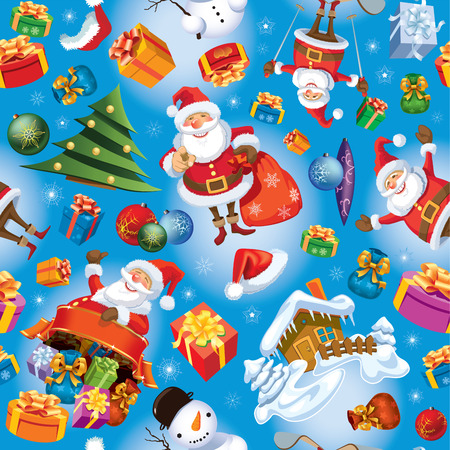 Christmas pattern with Santa Claus, gifts, Christmas balls and tree.