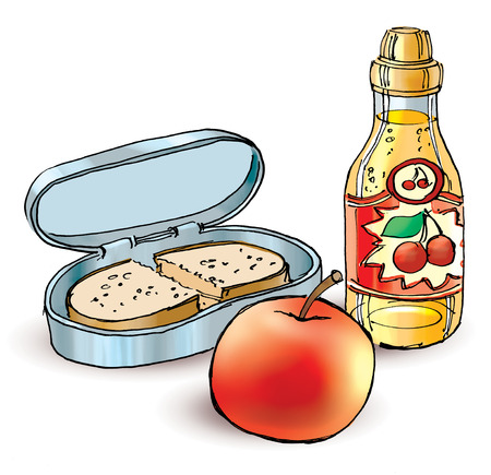 School lunch. Healthy filled lunch box with sandwich apple and fruit juice