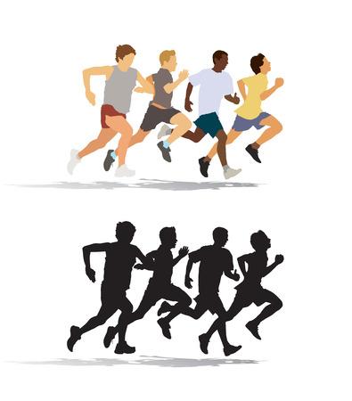Groep van vier jonge man lopen in de race