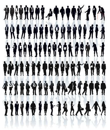 Amplio conjunto de siluetas de personas. Empresarios; hombres y mujeres. Foto de archivo - 34605674