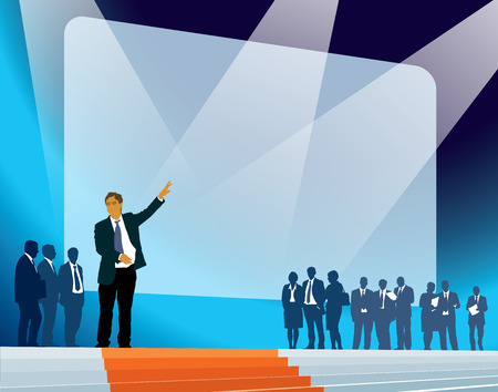Crowd of businesspeople celebrating promotion of a new product. Stock Vector - 35259761