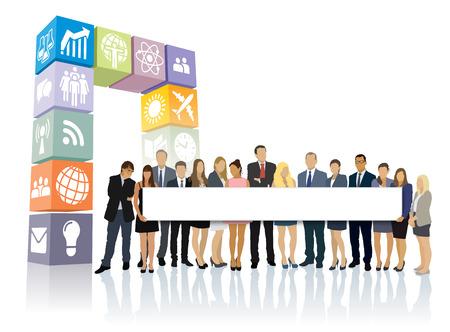新しい web ポータルの前に立って、大きな長い看板を保持しているビジネスマンの群衆。