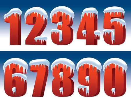 Red numbers with snow and icicles on a blue background perfect for New Year decoration Illustration