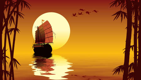 Tropical sunset with sailing ship, flying birds and bamboo trees Stock Photo