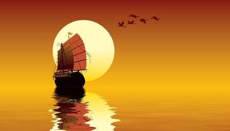 Tropical sunset with ocean, sailing ship and flying birds