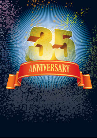 Background with design elements for the poster celebrating thirty-fifth anniversary