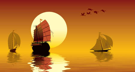 Tropical sunset, ocean, sailing ships and flying birds Stock Photo