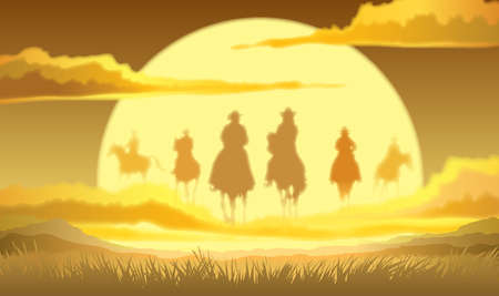 Team of cowboys silhouette galloping