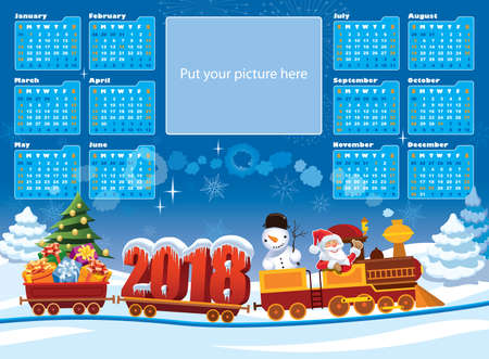 New Calendar 2018 and Santa Claus in a toy train with gifts, snowman and Christmas tree. Illustration