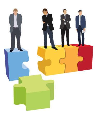 La gente de negocios está de pie en el rompecabezas que se muestra, como una estructura de organización dañada de la empresa.