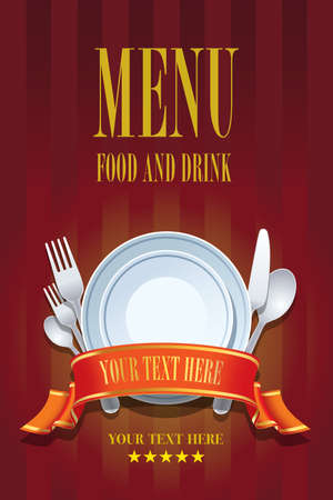 Restaurant menu cover design. Cover brochure design template for restaurant menu food and drink Çizim