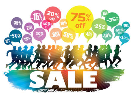 Sale. Crowd of running customers. People are running for Black Friday's sale. Vectores