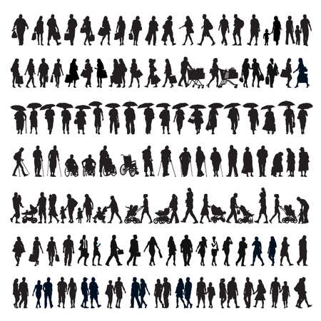 Large set of silhouettes, people on a walk. Families, couples, kids and elderly people.