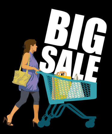 Big Sale. Creative colorful poster. Woman on shopping with shopping trolley and shopping bags. Black Friday design template on black background. Vector illustration. Vectores