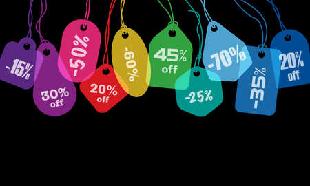 Colorful price tags or labels with various string tying on black background Vectores