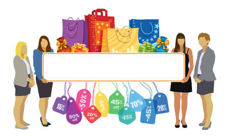 Group of girls holding a big blank banner with colorful price tags, shopping bags and gifts Vectores