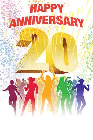 Colorful crowd of dancing people celebrating twentieth anniversary
