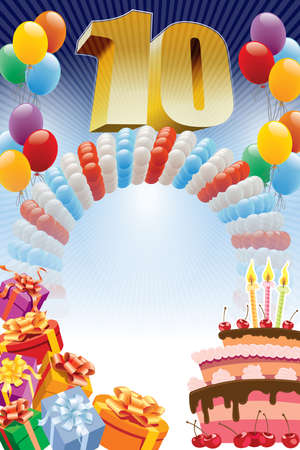 Background with design elements and the birthday cake. The poster or invitation for tenth birthday or anniversary. Vectores