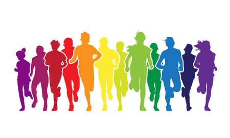 白い背景のマラソンでは、カラフルな若者の群衆が走っています。